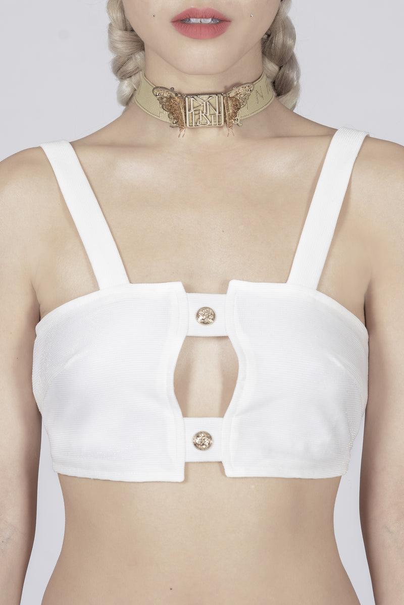 Madame Marilyn White Strappy Crop Top