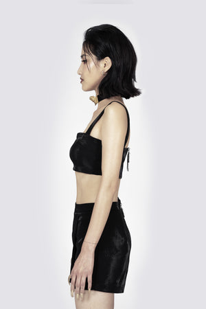 Madame Angelina black Strappy Cropped Top
