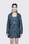 Lady Luck Shinny Blue Oversized Blazer