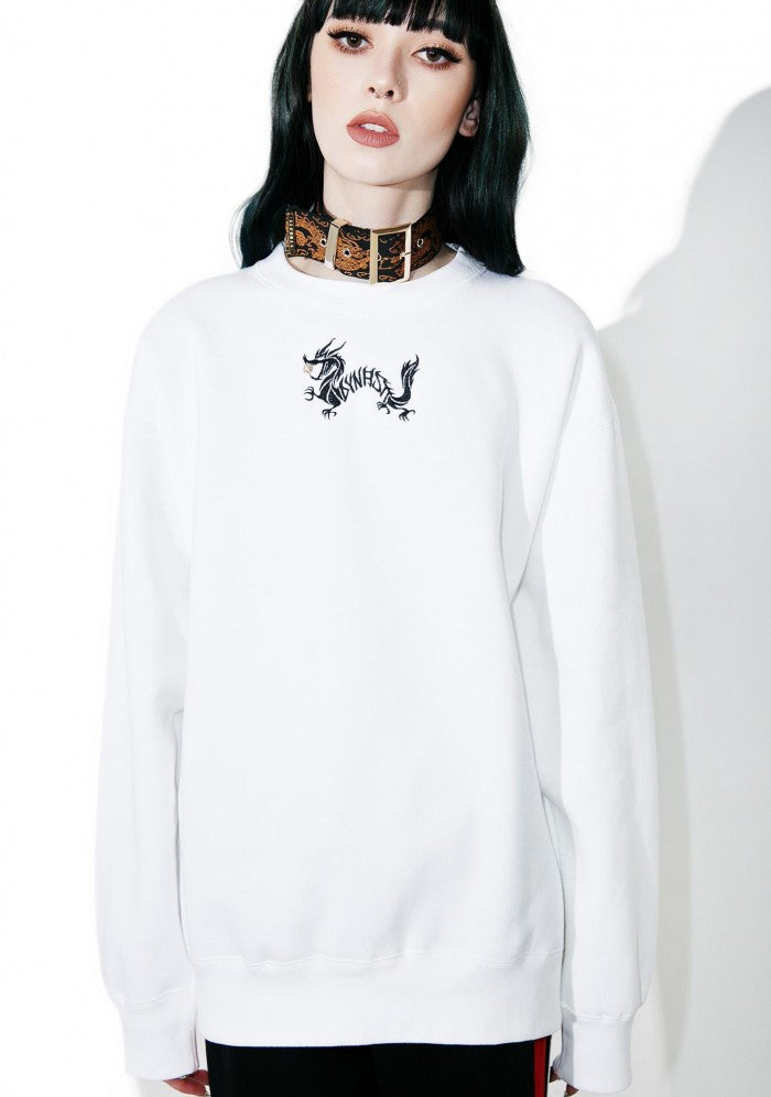 Dragon with Golden Pearl White Embroidered Sweatshirt