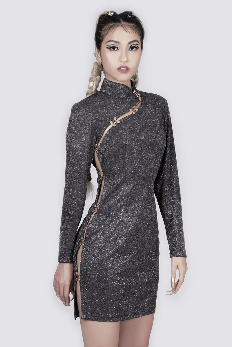 Slash Slit Qipao Glitter Dress