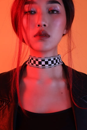 Rude Rider Bejewelled Checked Chain Scarf Choker - Dynasti X UMO
