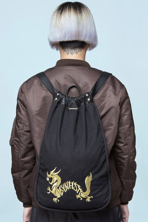 Dragon with Golden Pearl Embroidered Drawstring Backpack