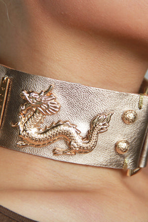 Imperial Dragon Deluxe Leather Collar