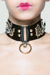 Forbidden Sex Leather Collar with Gold Hardware