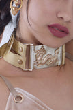 Dragon Collar in Champagne with Dynasti Logo Straps