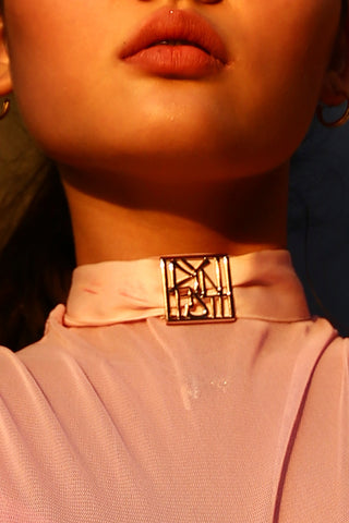Forbidden Sex Leather Collar with Silver Hardware