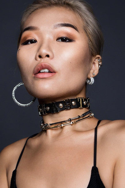 Miss Savage Chain & Ribbon Wrap Choker