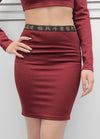 Kuji Kiri Burgundy Cutout Skirt
