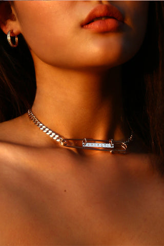 Skinny Wrap Choker with Gold Tips