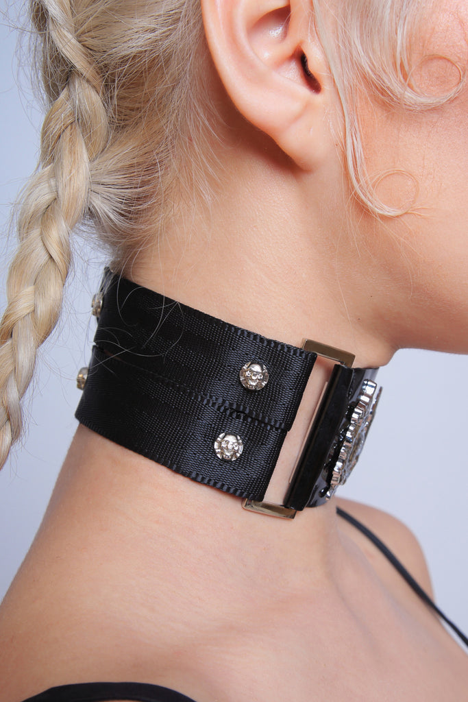 Gothic Dragon Collar with Skull Studs