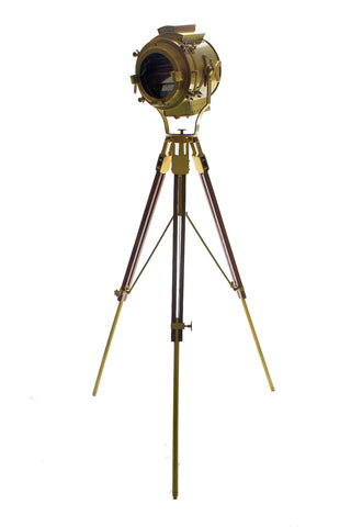 Brass Wood Adjustable Tripod Beautiful Nautical Floor Lamp with Louvers