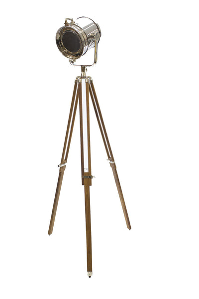 Tall Wooden Tripod Chrome Floor Lamp with LED Color Changing Light Decor