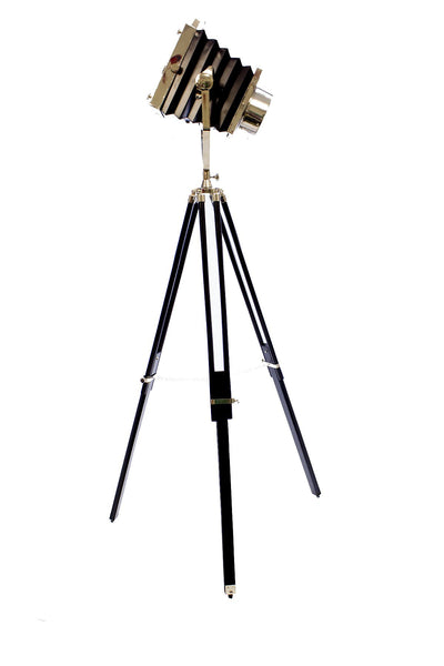 Big Cinema Tripod Floor Lamp Black Chrome Bluetooth Speaker Color LED Smartphone App