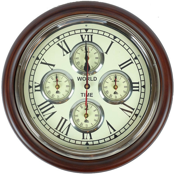 Wall Clock World Time Vintage 38cm