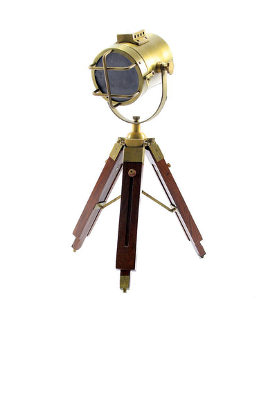 Schoneke Brass Tripod Spotlight Desk Lamp