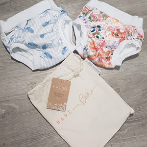 Bare + Boho Bare and Boho - Fauna and Whales - 2 Pack Small Toddler Training Undies Organic Cotton training pants - Nest 2 Me Baby Carriers Australia