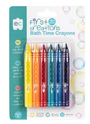 Educational Colours Bath Time Crayons Set 6 Washable and Non Toxic for 18 months+ - First Creations crayons - Nest 2 Me Baby Carriers Australia