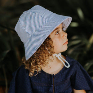 Bedhead Hats Bedhead Hat -Blue White Stripe Print Bucket Hat Newborn up to 6 yrs+ sizes hat - Nest 2 Me Baby Carriers Australia