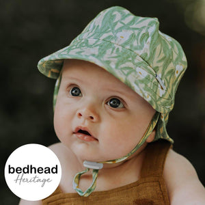 Bedhead Hats Bedhead Hat -Eucalyptus Print Legionnaire Back Flap Hat Baby Toddler sizes hat - Nest 2 Me Baby Carriers Australia