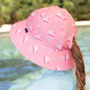 Bedhead Hats Bedhead Hat - Kids UPF50+ Beach Swim Hat Bucket Jellyfish with ponytail hole hat - Nest 2 Me Baby Carriers Australia