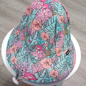Bedhead Hats Bedhead Hat - Kids UPF50+ Beach Swim Hat Bucket Tropical with ponytail hole hat - Nest 2 Me Baby Carriers Australia