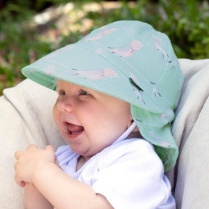 Bedhead Hats Bedhead Hat -Legionnaire Back Flap Galah Print Hat Baby Toddler sizes hat - Nest 2 Me Baby Carriers Australia