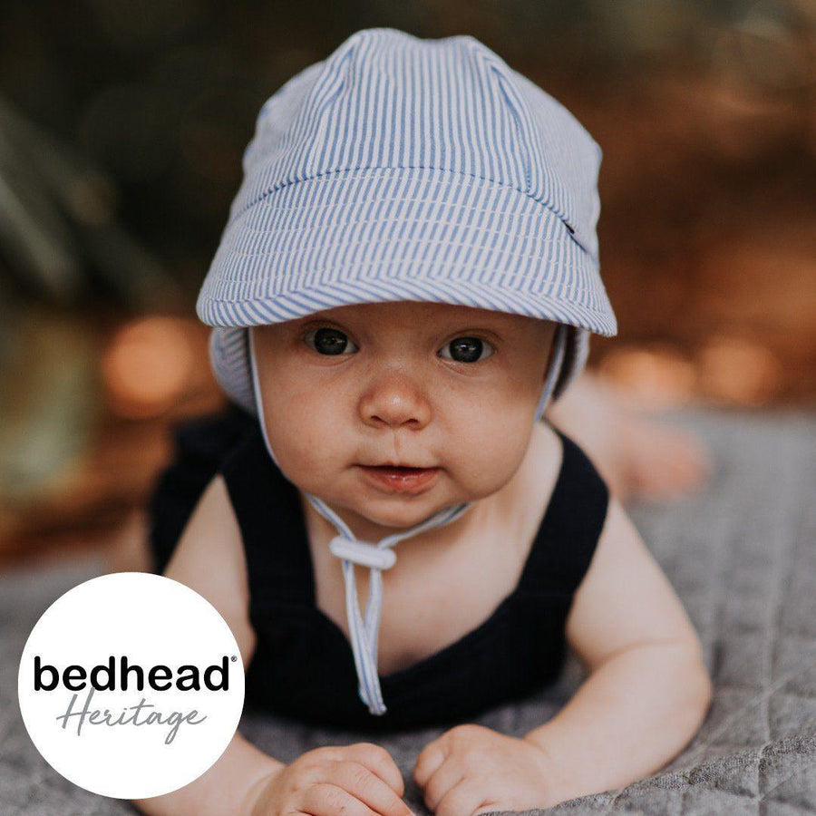 Bedhead Hats Bedhead Hat -Stripe Print Legionnaire Back Flap Hat Baby Toddler sizes hat - Nest 2 Me Baby Carriers Australia