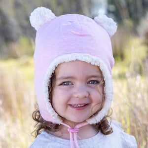 Bedhead Hats Bedhead Hats Fleecy Teddy Beanie - Baby Pink Marle - various sizes Baby Beanies - Nest 2 Me Baby Carriers Australia