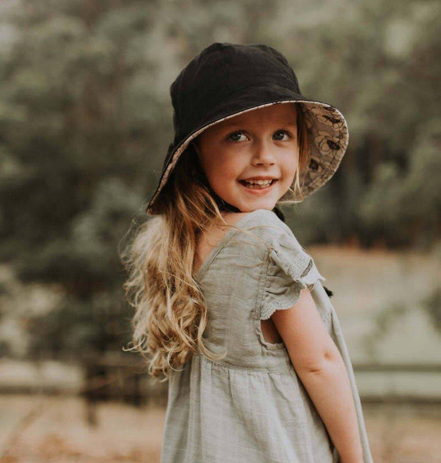 Bedhead Hats Bedhead Hats - Girls Wanderer Reversible Sun Bucket Hat - Helena - Ebony hat - Nest 2 Me Baby Carriers Australia