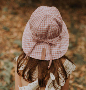 Bedhead Hats - Girls Wanderer Reversible Sun Bucket Hat Linen - Gingham Rosa hat Bedhead Hats