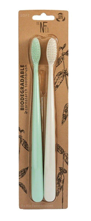 Natural Family Co Biodegradable Toothbrushes 2 Pack Plastic Free Zero Waste toothbrush - Nest 2 Me Baby Carriers Australia