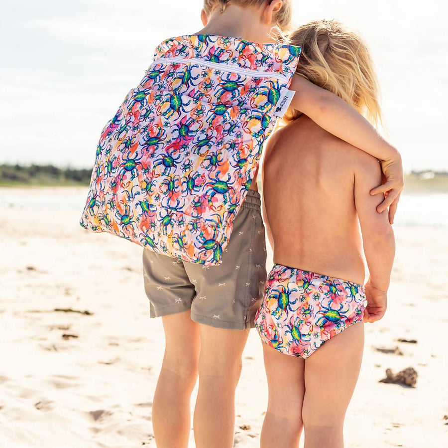 Designer Bums Blue Swimmer Designer Bums Swim Nappy velcro or snaps swim nappies - Nest 2 Me Baby Carriers Australia