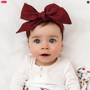 Snuggle Hunny Kids Burgundy Snuggle Hunny Kids Linen Bow Pre-Tied Headband Wrap Children Hair Accessories - Nest 2 Me Baby Carriers Australia