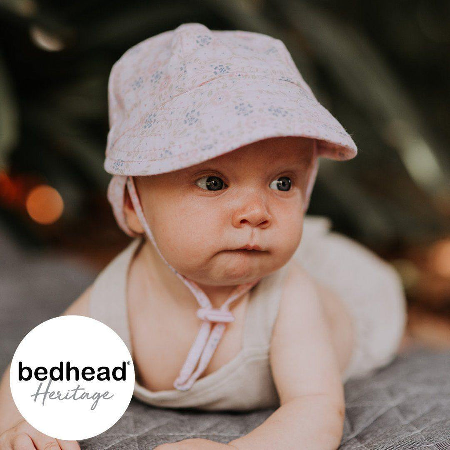 Bedhead Hats Charlotte Design Baby Flap Hat with Strap 37cm 0-3mths XXS - Bedhead Hats hat - Nest 2 Me Baby Carriers Australia