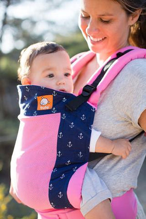 Tula Baby Carriers Australia Nest 2 Me Coast Seafarer pink and blue - Tula Mesh Baby Carrier Tula Ergonomic Baby Carriers - Nest 2 Me Baby Carriers Australia
