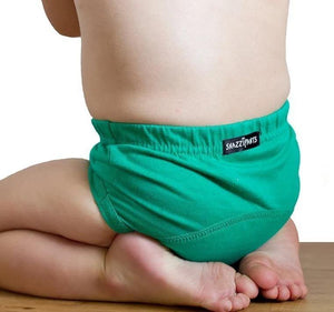 Brolly Sheets Cotton Day Time Training Pants Green - Snazzipants training pants - Nest 2 Me Baby Carriers Australia