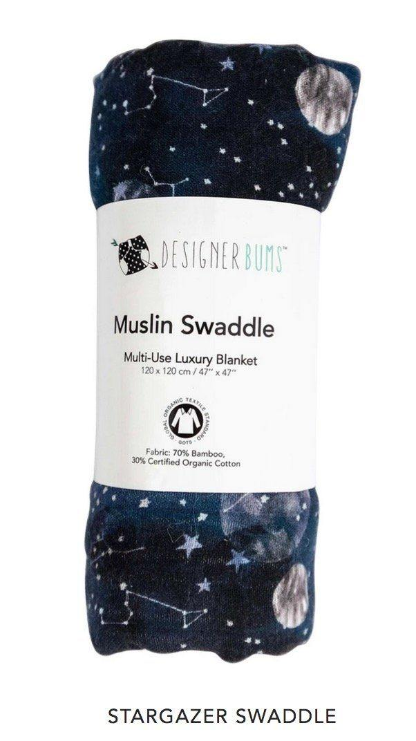 Designer Bums Designer Bums Premium Muslin Swaddles - Certified Organic Cotton/ Bamboo CHOOSE OPTIONS swaddles - Nest 2 Me Baby Carriers Australia