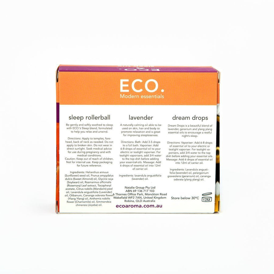 Eco Modern Essentials Eco Essential Oils Bottles and Sleep Rollerball Trio essential oils - Nest 2 Me Baby Carriers Australia