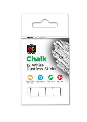 Educational Colours White Dustless Chalk set of 12 chalk First Creations