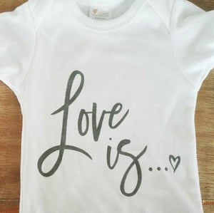 Elske Elske Design - Love Is - 100% Cotton Baby Onesies Short Sleeve- Select Size baby onesies - Nest 2 Me Baby Carriers Australia
