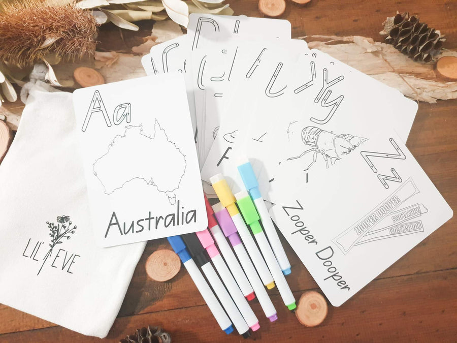 Lil Eve Kids Australian Alphabet Cards  - Lil Eve 26 Cards Set with markers and bag alphabet cards - Nest 2 Me Baby Carriers Australia