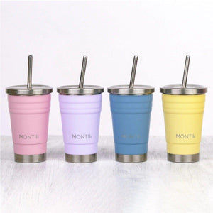 Montii Co Mini Slate Blue Montii Co Smoothie Cup with Stainless Steel Reusable Straw 275mL smoothie cup - Nest 2 Me Baby Carriers Australia