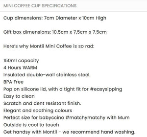 Montii Co Montii Co Mini coffee Cup - White smoothie cup - Nest 2 Me Baby Carriers Australia