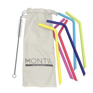 Montii Co Montii Co Silicone Straw Set Reusable Bright Colours Mix straws - Nest 2 Me Baby Carriers Australia