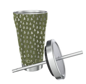 Montii Co Smoothie Cup - Olive Geo with Stainless Steel Reusable Straw smoothie cup Montii Co