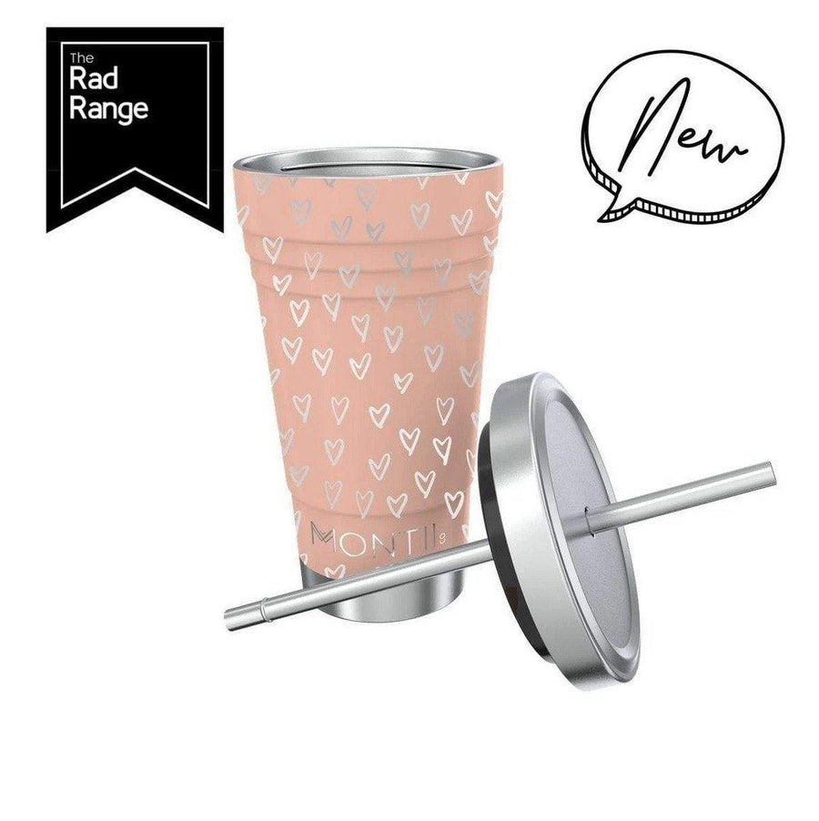 Montii Co Smoothie Cup - Peachy Hearts with Stainless Steel Reusable Straw smoothie cup Montii Co