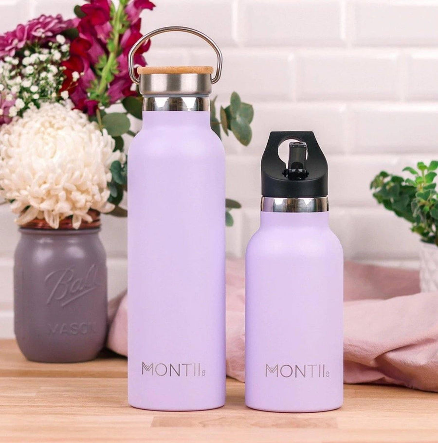 Montii Co Montii Co Stainless Steel Drink Bottle - Lavender 600mL drink bottle - Nest 2 Me Baby Carriers Australia