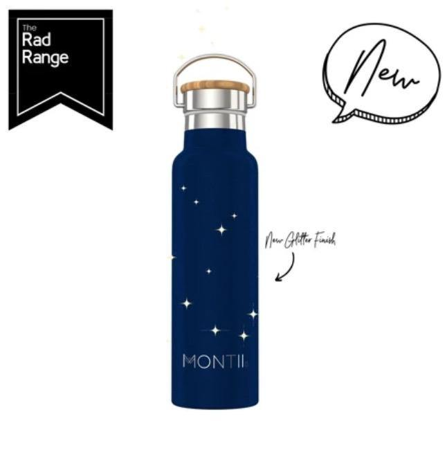 Montii Co Montii Co Stainless Steel Drink Bottle - Original Glitter Midnight Blue 600mL drink bottle - Nest 2 Me Baby Carriers Australia