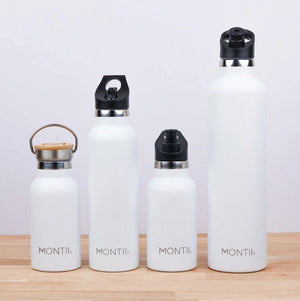 Montii Co Montii Co Stainless Steel Mega Drink Bottle - Grey 1 Litre Bamboo Lid drink bottle - Nest 2 Me Baby Carriers Australia